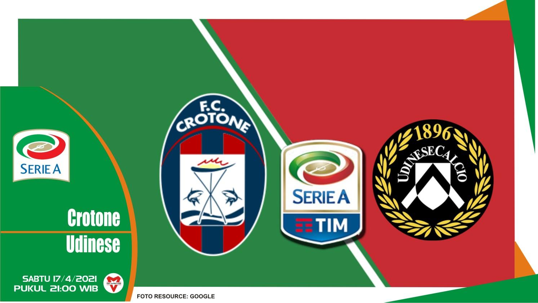 Prediksi Liga Italia: Crotone vs Udinese - 17 April 2021