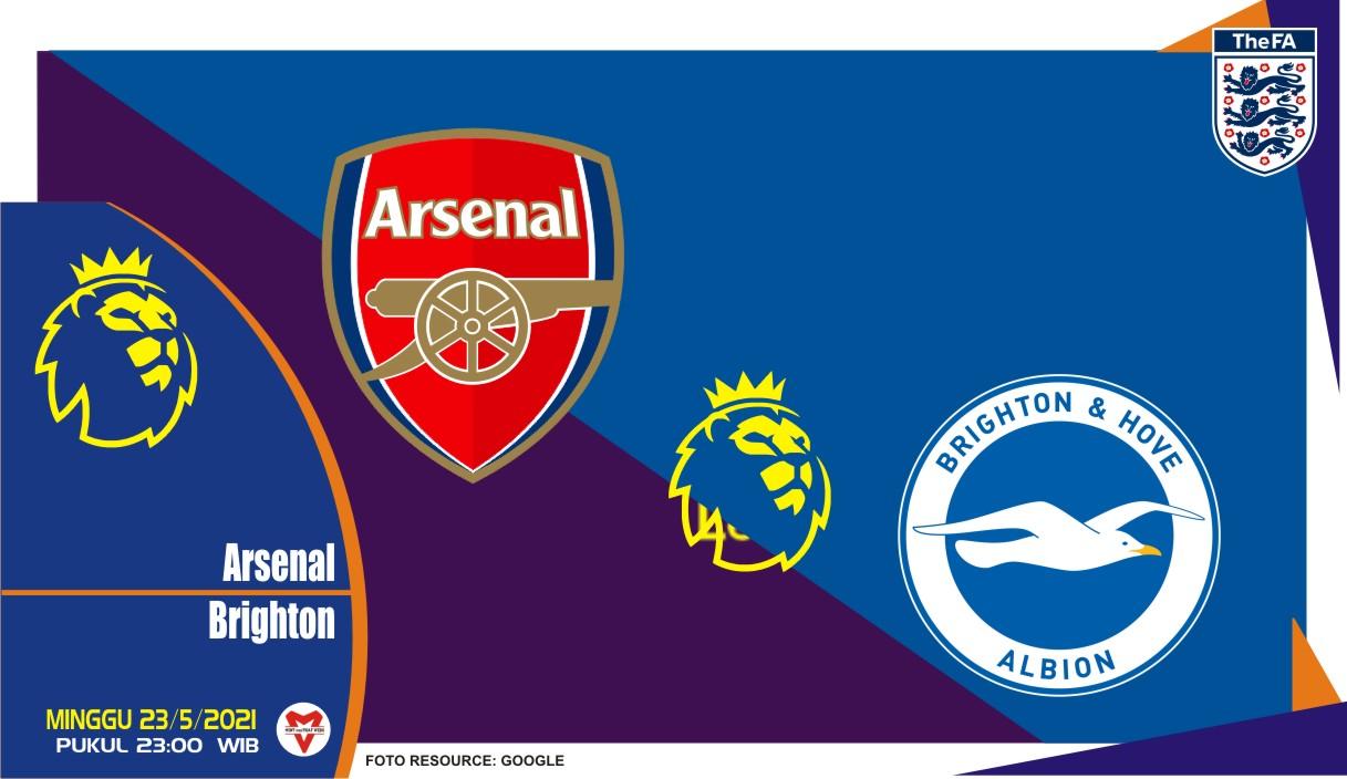 Arsenal vs Brighton, Prediksi Liga Inggris 23 Mei 2021