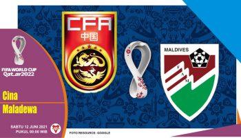 Prediksi China vs Maladewa, Laga Kualifikasi Piala Dunia 12 Juni 2021