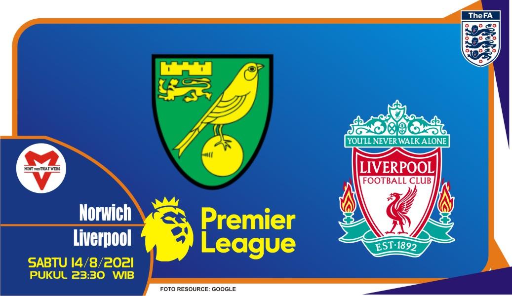 Prediksi Norwich City vs Liverpool - Liga Inggris 14 Agustus 2021